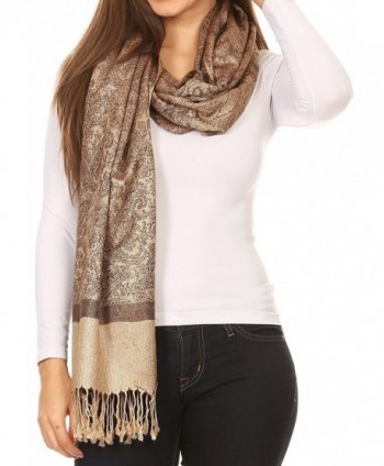 "Sakkas 70"" x 28"" Paisley Self-Design Pashmina Shawl / Wrap / Stole - Chocolate Brown - C6112MCLURN"