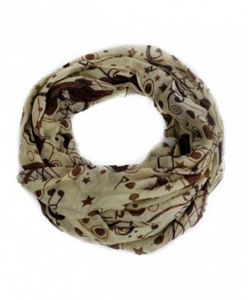 Nollia Yellow Brown Musical Note Infinity Viscose Scarf - CC12MAOG2I3