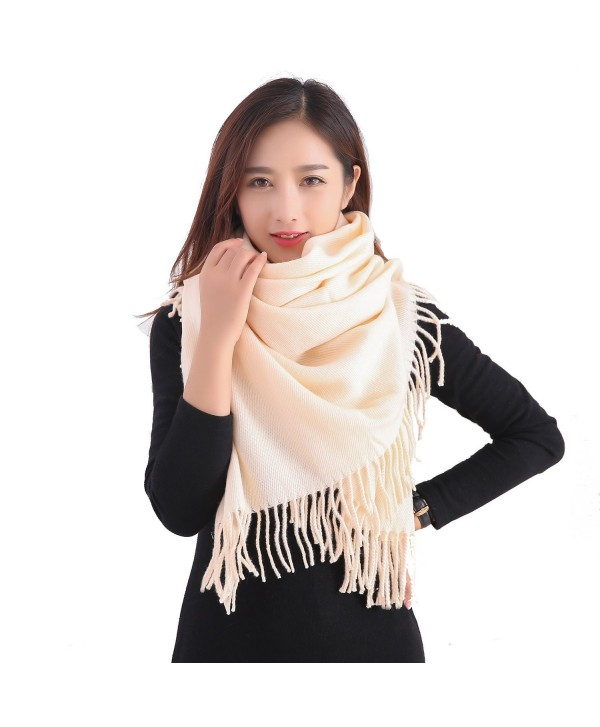 YCHY Large Extra Soft Cashmere Blend Women Pashmina Shawl Wrap Stole Scarf - Champagne - C2186GTDIAC
