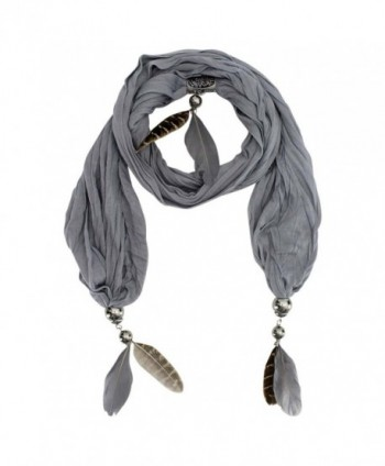Necklace Scarf With Feathers - Gray - CX118R4QY17