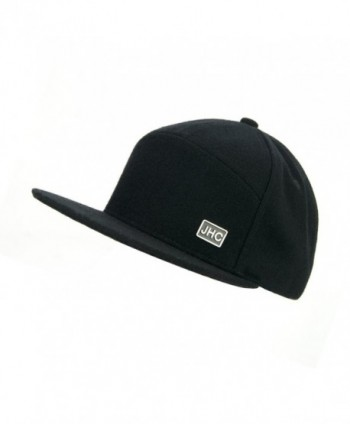 JHC Structured Flat Bill Woolen Snapback Cap For Men - Black - CR182XGESL6