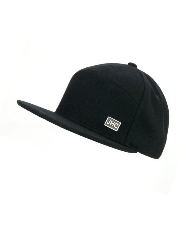 JHC Structured Flat Bill Woolen Snapback Cap For Men - Black - CR182XGESL6