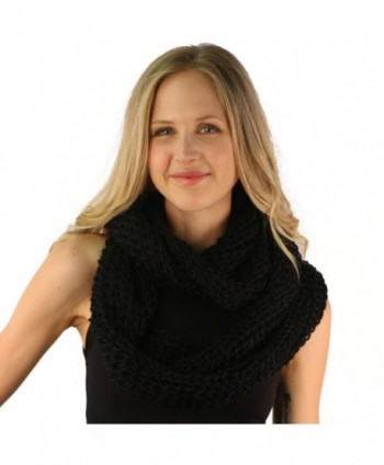 Ladies Winter Chunky Weave Wide Knit Chain Circle Loop Eternity Snow Scarf - Black - CZ116OR7EBN