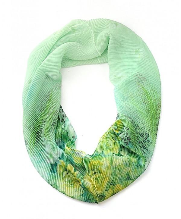 NYFASHION101 Women's Floral & Leaf Print Stretchable Sheer Loop Infinity Scarf - Green - CQ11WHUJZUT
