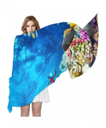 Women Corals And Tropical Fish Scarf- JSTEL Elegant Fashion Ladies Soft Wrap Shawl Chiffon Neckerchief - CX186KH4O49
