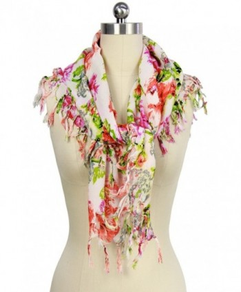 Saachi Women's Floral Print Square Scarf with Tassels 36 x 36 Inches - C212O3Z4WIG