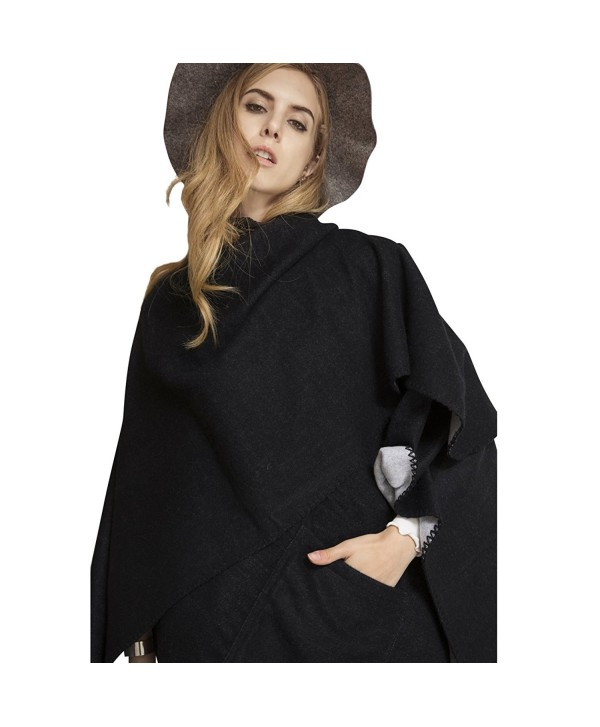 Plaid Scarf Long Scarves Blanket Warm Tartan Checked Shawl With Pocket Poncho Cape - 17005-black - CM186WE90LC
