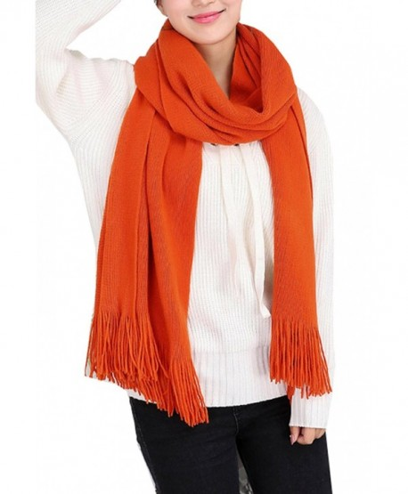 Wander Agio Women's Warm Long Scarves Winter Scarfs Pure Color Scarf Tassel - Orange - C9186GID54M