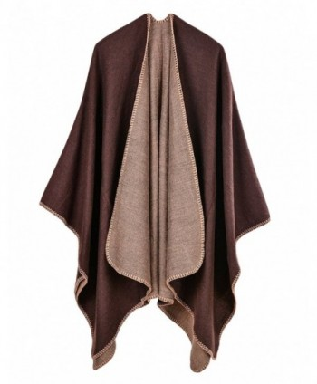 LAFASO Womens Open Front Poncho Cape Shawl Long Cardigan Coat - Pattern1-coffee - C7186ZOG6EY