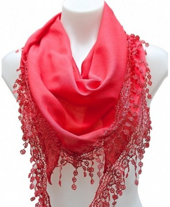 Terra Nomad Women's Girls Triangle Lightweight Scarf with Lace Trim - Tangerine - C511HSB9GZV