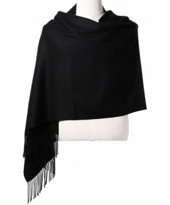 Womens Pashmina Shawl Wrap Scarf - Ohayomi Solid Color Cashmere (21 Colors) - Black - CI186M4XGCX