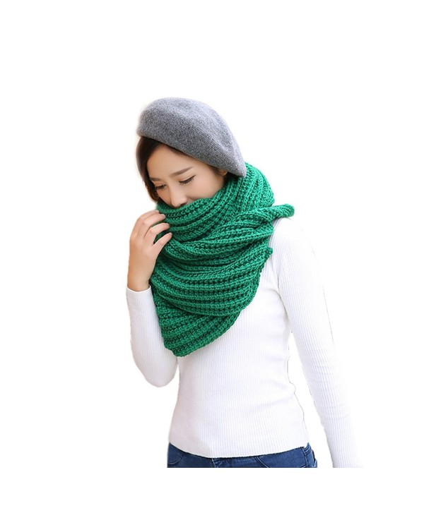 Solid Color Knitted Ladies Scarf Shawl Thick Long Section - Green - CK1860SHZD0