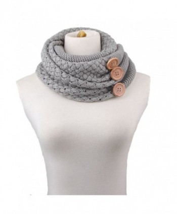 Xife Women's Pashmina Blend Chunky Ribbed Knit Button Winter Infinity Circle Scarf Cowl - Gray - CO1294DA2CP