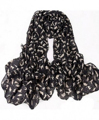 Gilroy Women's Cat Kitten Pattern Chiffon Scarf Graffiti Style Shawl - Black - CC12N1W23MD