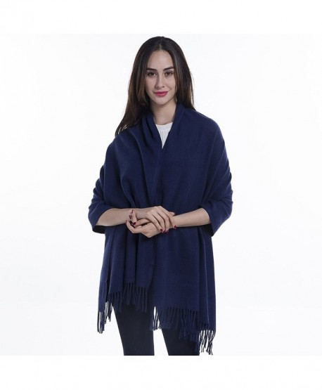 Niaiwei Extra Large Womens Long Cashmere Wool Winter Shawl Wrap- Solid Color 78 27 inch - Navy Blue - CF186YRS3ZS