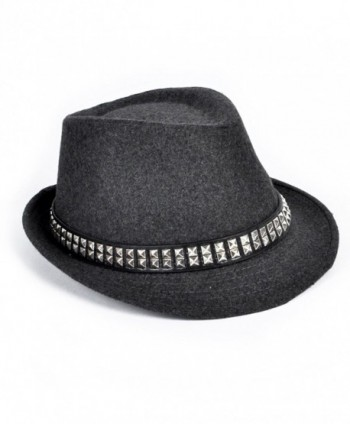 Edgy Rocker Solid Fedora Hat - Gray - C411PV1Y9NJ