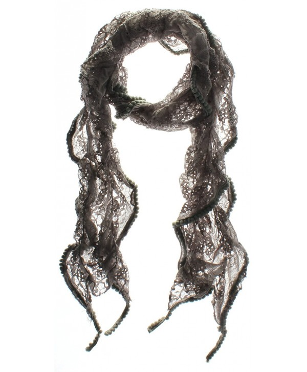 Emmalise Women's Contemporary Boheminan Detailed Light Weight Lace Scarf - SC224 Light Gray - CW11VHLUDD7