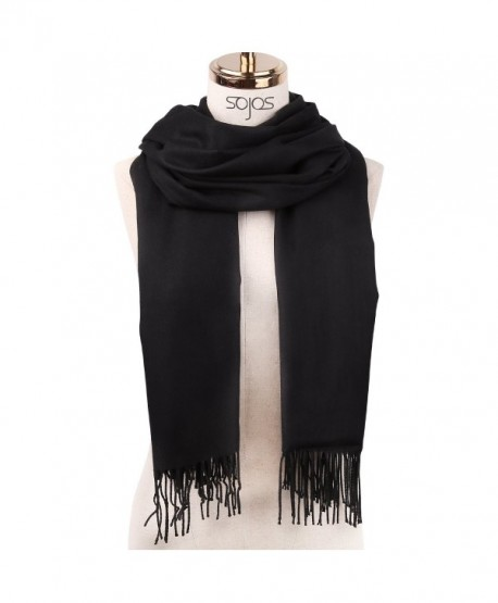 SojoS Womens Large Soft Cashmere Feel Pashmina Shawls Wraps Winter Scarf SC304 - C2 Black - CV186O9Z4YX