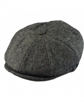 Men's Classic 8 Panel Wool Blend Newsboy Snap Brim Collection Hat (X-large- Tweed Grey) - CN12FQ7UNRX