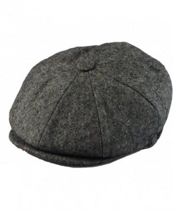 Men's Classic 8 Panel Wool Blend Newsboy Snap Brim Collection Hat (X-large- Tweed Grey) - CN12FQ7UNRX