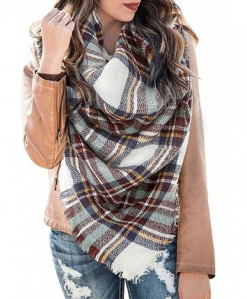 Womens Soft Casual Warm Color Block Plaid Blanket Scarf Gorgeous Wrap Shawls - Multicolor-5 - CC1885EH53Y