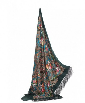 "Ladies Floral Shawl With Tassels Ukrainian Polish Russian Head Scarf 43"" x 43"" - Dark Green - CW17YLZWI5G"