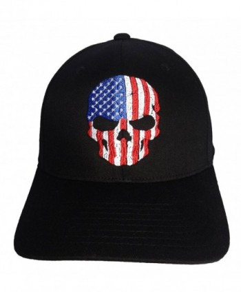 Skull USA Flag Embroidery on a Flexfit Hat. - Black - C011OT617JL