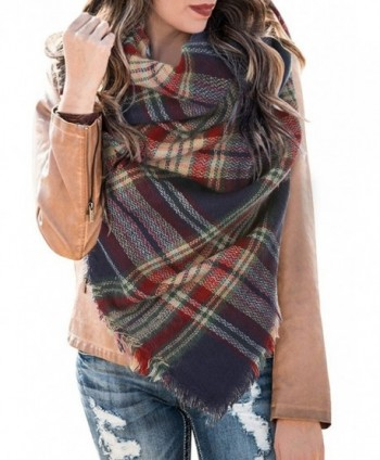 Womens Blanket Scarf Plaid Winter Fall Warm Tartan Shawls Wraps Chunky Classic Soft Scarfs - 2-navy&red - CJ187EEC6GT