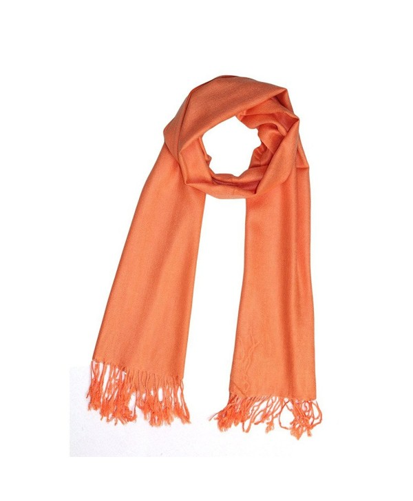 Reversible Pure Color Silky Beach Wrap Shawl Womens Decoration Scarf - Orange - CT12H09N737