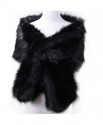 RUNHENG Women's Wedding Faux Fur Shawls and Wraps- Fur Stole and Scarves. 165 x 30cm - Black - CM186M2IN39