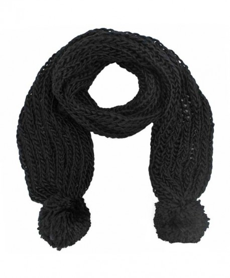 Chunky Knit Pom-Pom Winter Scarf - Black - C411770KMIX