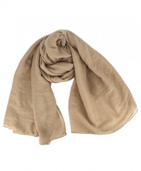 Women Soft Cotton Hemp Scarf Shawl Long Scarves Travel Sunscreen Pashmina - Khaki - C9185YAKDK3