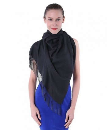 Cashmere Feel Pashmina Shawls and Wraps - Black - C2188U97RQT