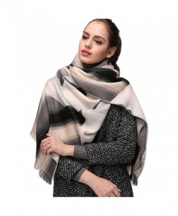 HaloVa Women's Scarf- Fashion Shawl Wrap Pashmina- Autumn Winter Warm Gradient Shaw Long Scarf - White Black - CT1802XCE4I