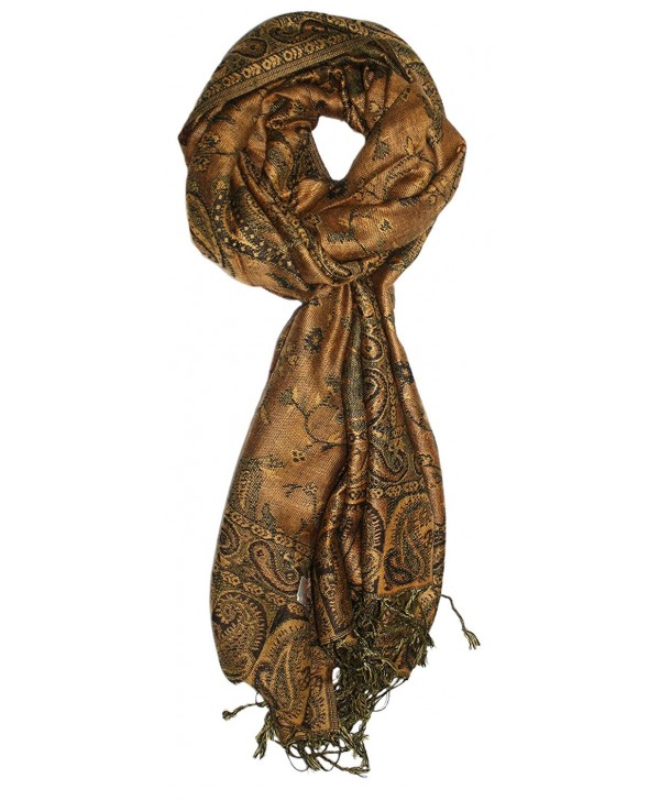 Ted and Jack - Luxe Classic Paisley Reversible Pashmina - Gold - CC180NEAYUW