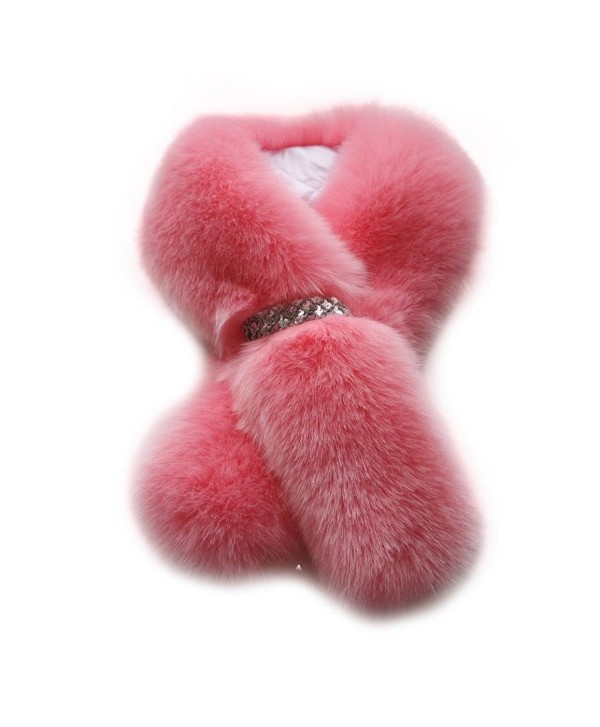 Tenworld Women's Winter Warm Soft Fur Pom Pom Shawl Scarf - Pink - C312N4OOEJT