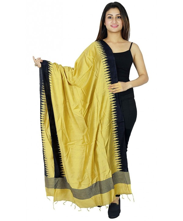 Dupatta Chunni Neck Wrap Scarves Stole Rayon Woman Scarf - Beige and Black - C2129MQCW5Z