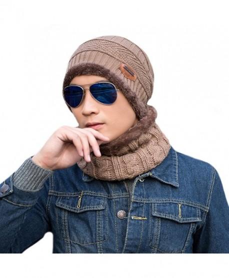 Unisex Winter Slouchy Beanie Hat Scarf Set Knitted Neck Warmers Gaiters Skull Caps - Khaki - CT18899TMKR