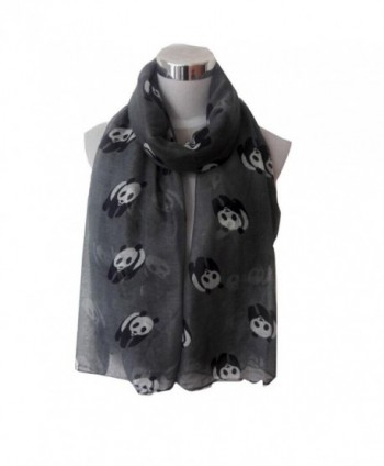 CreazyWomen Lady Panda Print Shawl Voile Rectangle Scarf Scarves - C6129MC4SR9