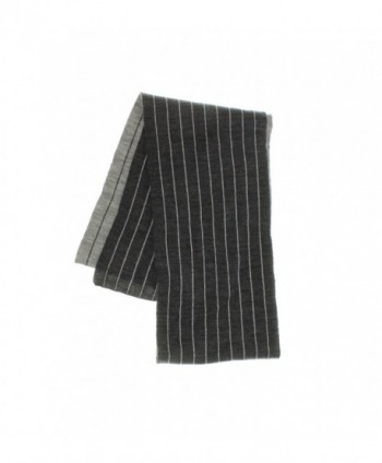 Chaps Unisex Reversible Pinstriped Knit Scarf (One Size- Gray) - CR12N696EMN