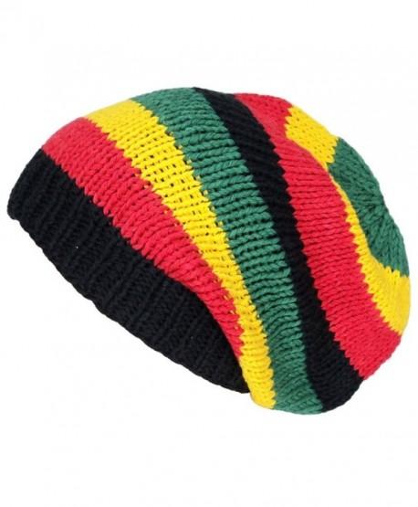 Asian Idyllica Handmade Crochet Knit Beanie One Size Multicoloured Rasta 102 - CJ11DCQBE29