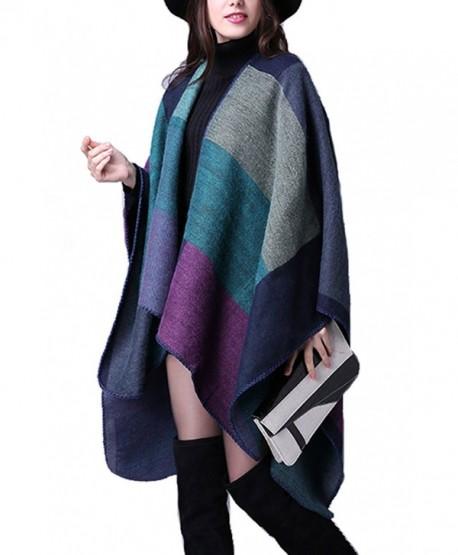 YACUN Women's Winter Long Cape Geometric Pattern Poncho Wrap Shawl Scarf - Purple - C712M7XPQWV