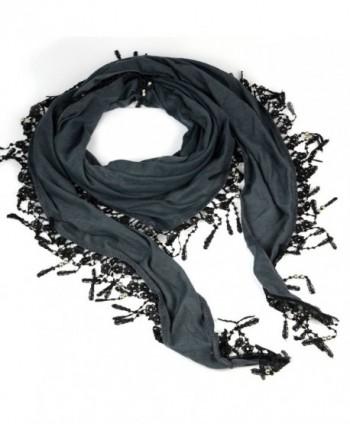 Triangle Scarf with Lace Fringe Knitting Scarf- Jewelry Beads Scarves Shawl - CC11E4Z2VRJ