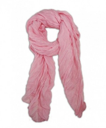 Long Candy Crinkle Scarf - Light Pink - C411H0FNWOL