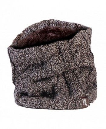 Women's Heat Holders Thermal 3.4 tog Fleece Cable knit Snood Scarf Neck Warmer - Fawn - CR12BW2KB2N