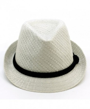 LUNADA BAY Paper Lightweight Straw Fedora Hat - Light Grey - CX11OI891PR