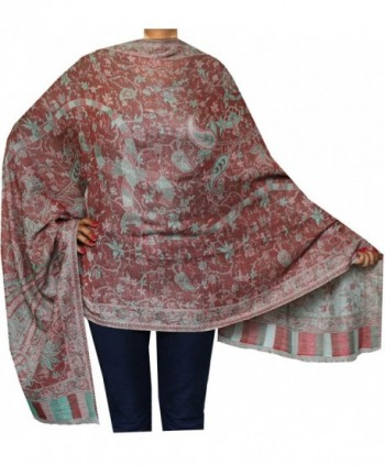 Maple Clothing India Wool Scarves Womens Shawls Paisley Gift (84 x 30 inches) - Maroon 1 - CA186QMITK9