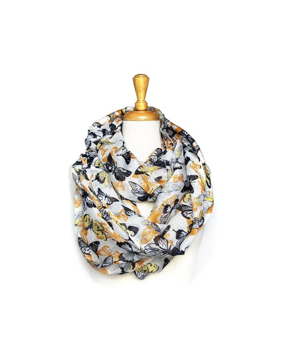Women's Butterfly Print Light Weight Soft Large Infinity Scarf - Gold - C011VEHLU8V