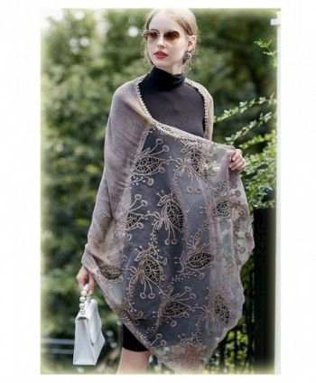Women Large Shawl Wrap Scarf In Solid Colors Spring Winter Soft Lightweight Lace Flowers Scarves - Khaki - CS188E5M4E9