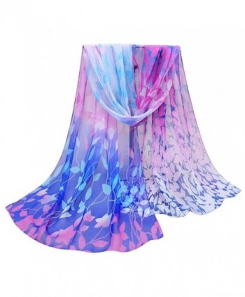 Rumas Women Floral Printed Scarf Soft Chiffon Shawl Wrap 158cmx50cm - Blue - C912NT9L0NZ